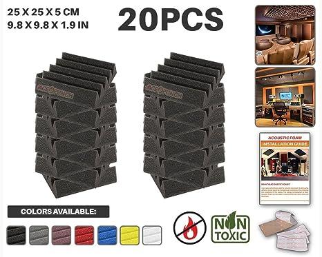 Ace Punch 20 piezas NEGRO Cuña Studio Foam Panel Aislamiento Acústico Tratamiento Espuma Acústica con lengüetas