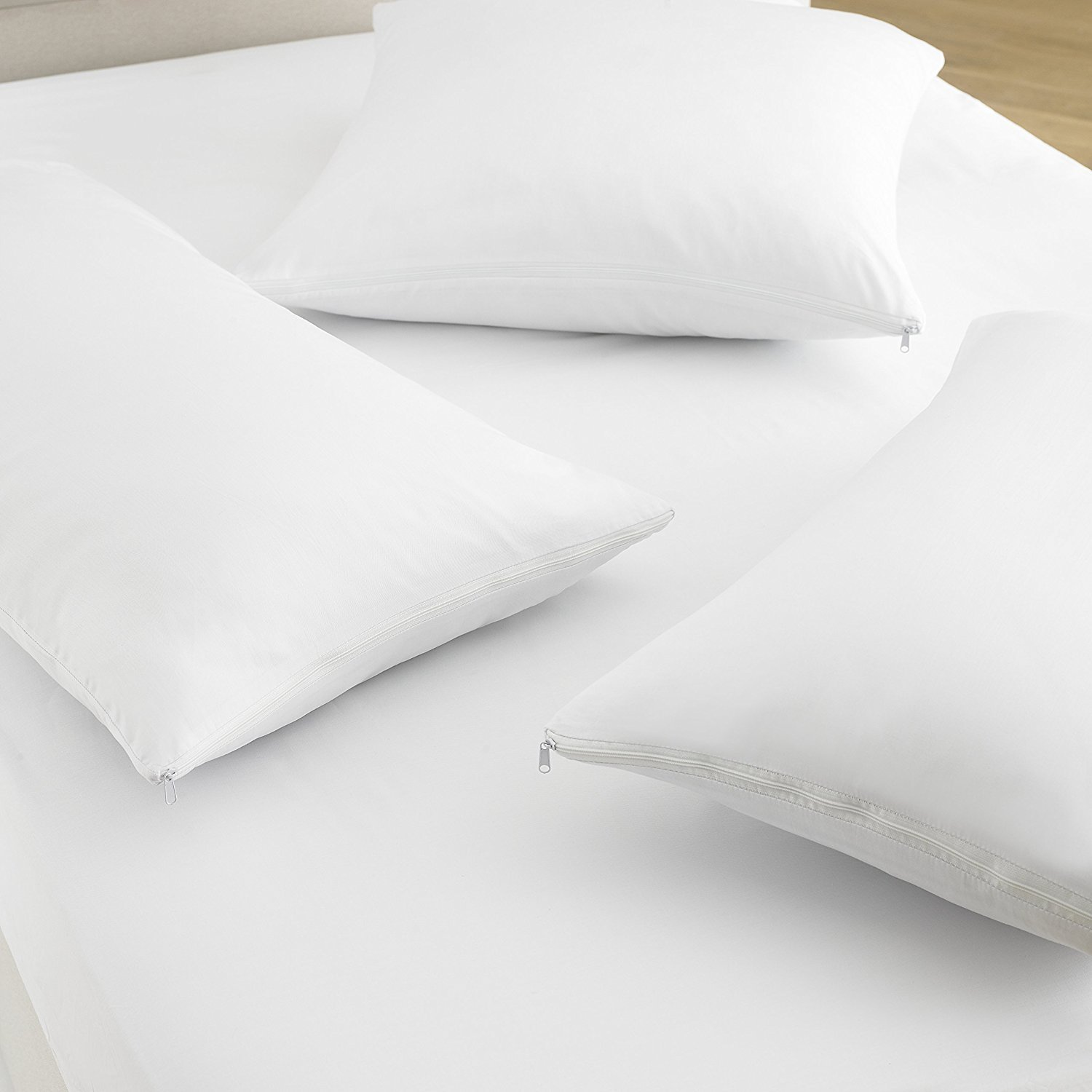 Great Knot 200 Thread Count 100% Cotton Liquid Repellent, Anti-Allergy, Anti-Bacterial Pillow Protector Pair White, Oxford 50x75cm, White)