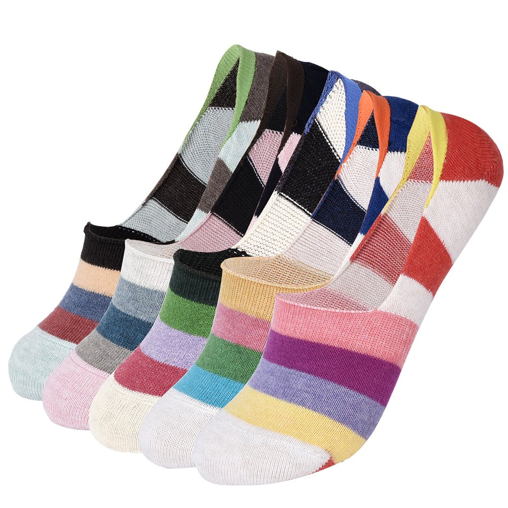 VBG VBIGER Women No Show Liner Socks No-slip Low Cut Casual Socks with Silicone Heel Grip 5 Pairs