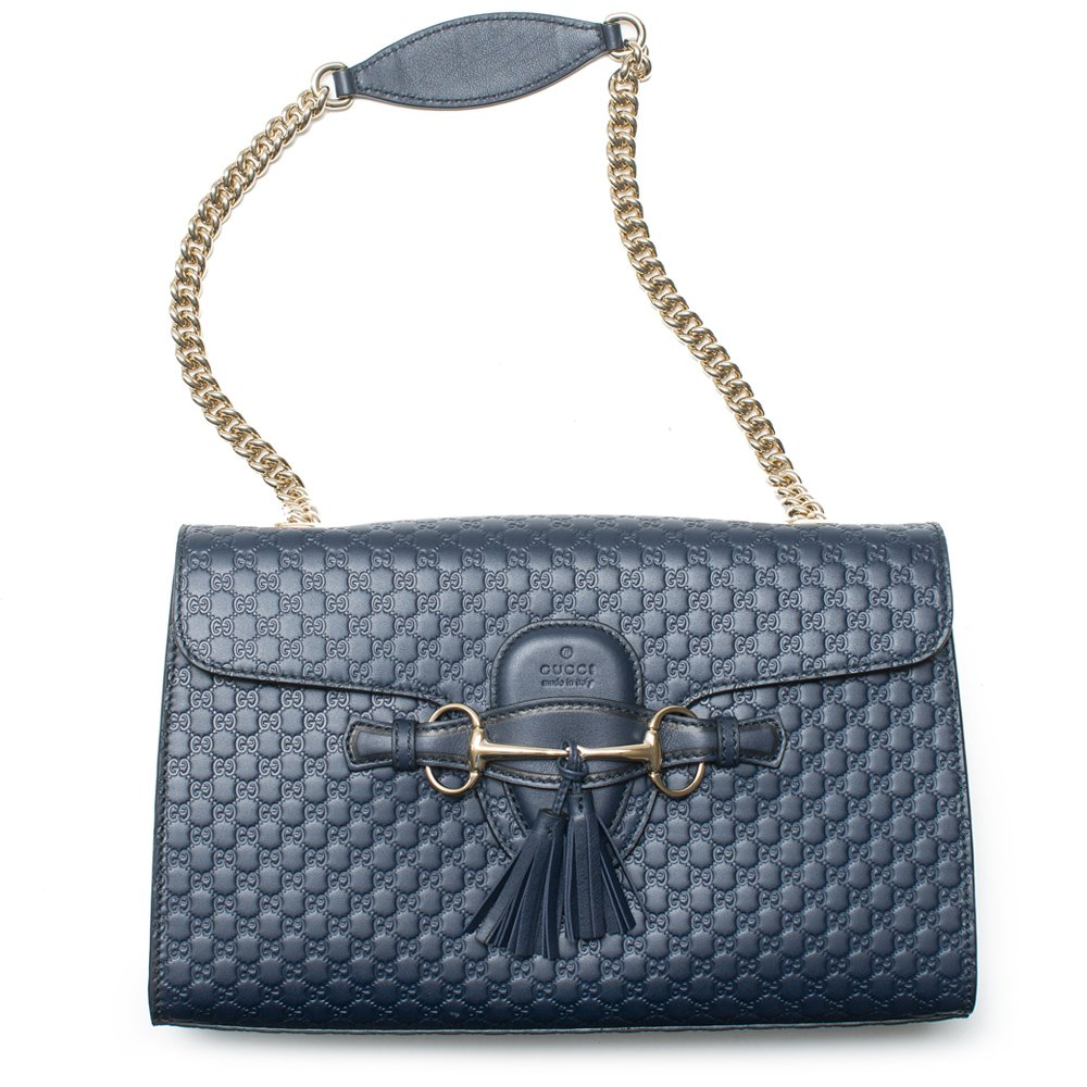 185d093beaf4 Amazon.com  Gucci Emily Navy Blue Micro Guccissima Monogram Leather Tote Bag  New  Shoes