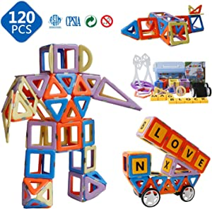 Magnetic Toys - Magnetic Blocks for Kids Boys and Girls Preschool Toys Magnet Building Sets Magnetic Buliding Blocks Stem Toys 120 Pcs