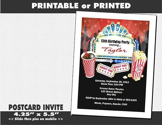 Movie Night Birthday Party Invitation Printable Or Printed Option