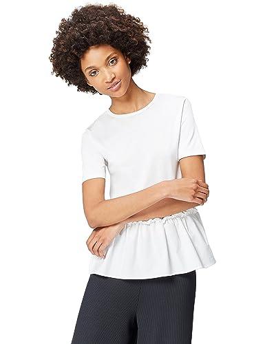 FIND T-Shirt Donna in Cotone con Maxi Volant