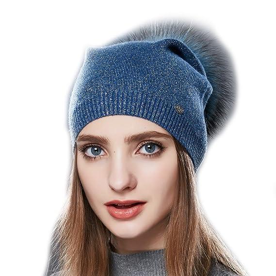 URSFUR Femme Hiver Chapeau Bonnet Jersey Béret Beanie Tendance Laine Bonnet  Pompon Fourrure Fille bleu