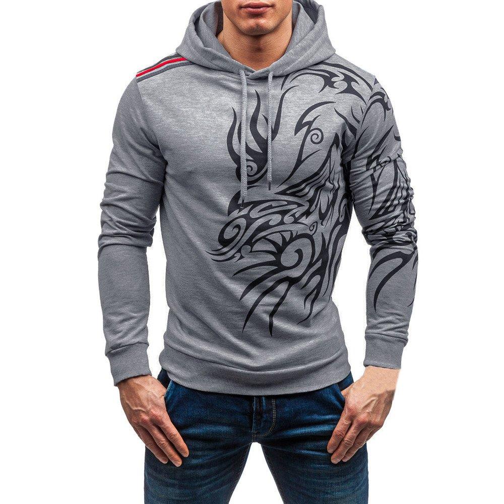 Farjing Sweatshirt for Men,Clearance Sale Men's Autumn Winter Printed Long Sleeve Hooded Blouse Tops (M,Gray