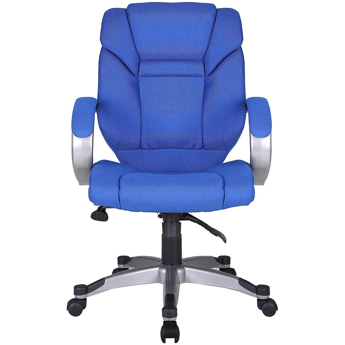 Bürodrehstuhl Fiji, blau blau blau - Stoffsessel mit gepolsterten Armlehnen - Eleganter Schreibtischstuhl - Computerstuhl mit Wasselfallsitz fccbea