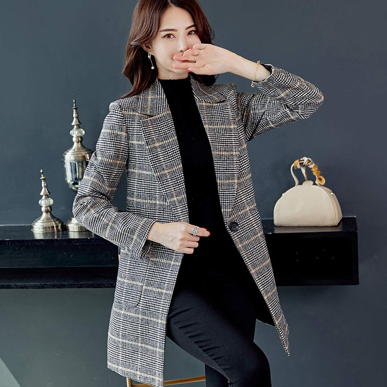 New Women Casual 2018 Autumn Winter Fashion Plaid Jackets Streetwear Female Coats,Coffee Plaid Coat,M