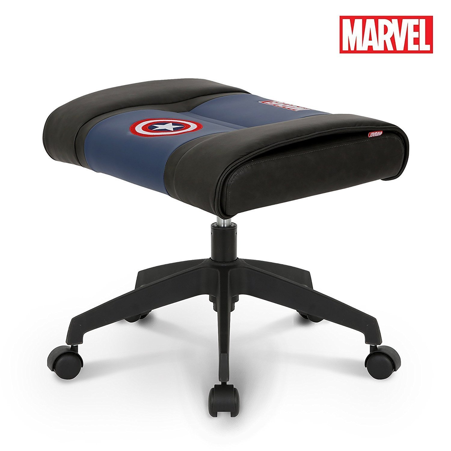 Licensed Marvel Ottoman Foot Rest Seat Stool Makeup Chair w/Wheel : Height Adjustable Office Home Furniture Premium PU Leather, Neo Chair (Captain America, Blue)