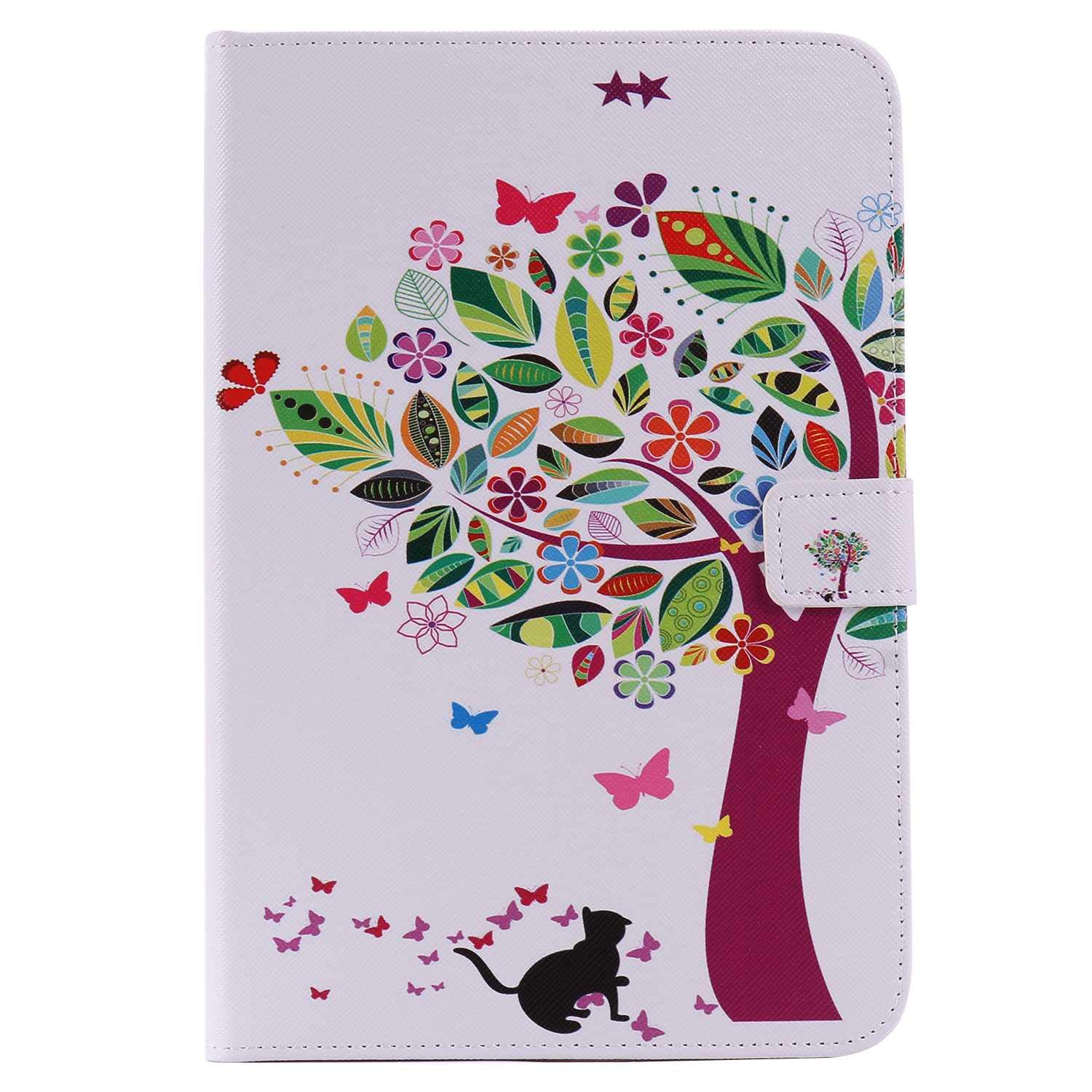 Bear Village iPad Mini 4 Case, Anti Scratch Shell with Adjust Stand, Colorful Design Leather Stand Case for Apple iPad Mini 4, Tree Cat by Bear Village