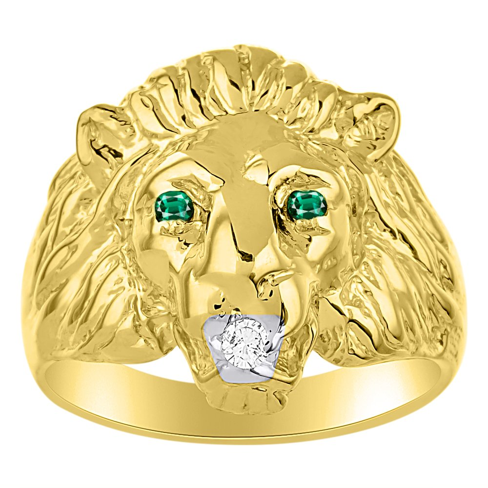 Lion Head Ring set with Genuine Diamond in mouth & Natural Emeralds in eyes Yellow Gold Plated over Silver .925