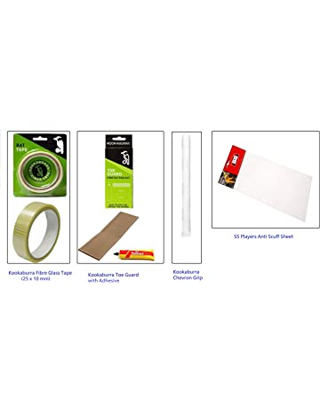 Cricket Bat Kit : Kookaburra Fiber glass tape, Toe guard, Chevron Grip white &