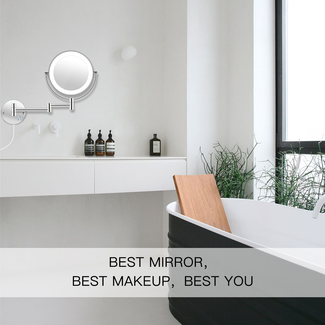 AmnoAmno 8.5'' LED Double Sided Swivel Wall Mount Vanity mirror-10x Magnification,13.7'' Extension,Touch Button Adjustable Light,Chromium,Shaving in Bedroom or Bathroom (8.5 inch)
