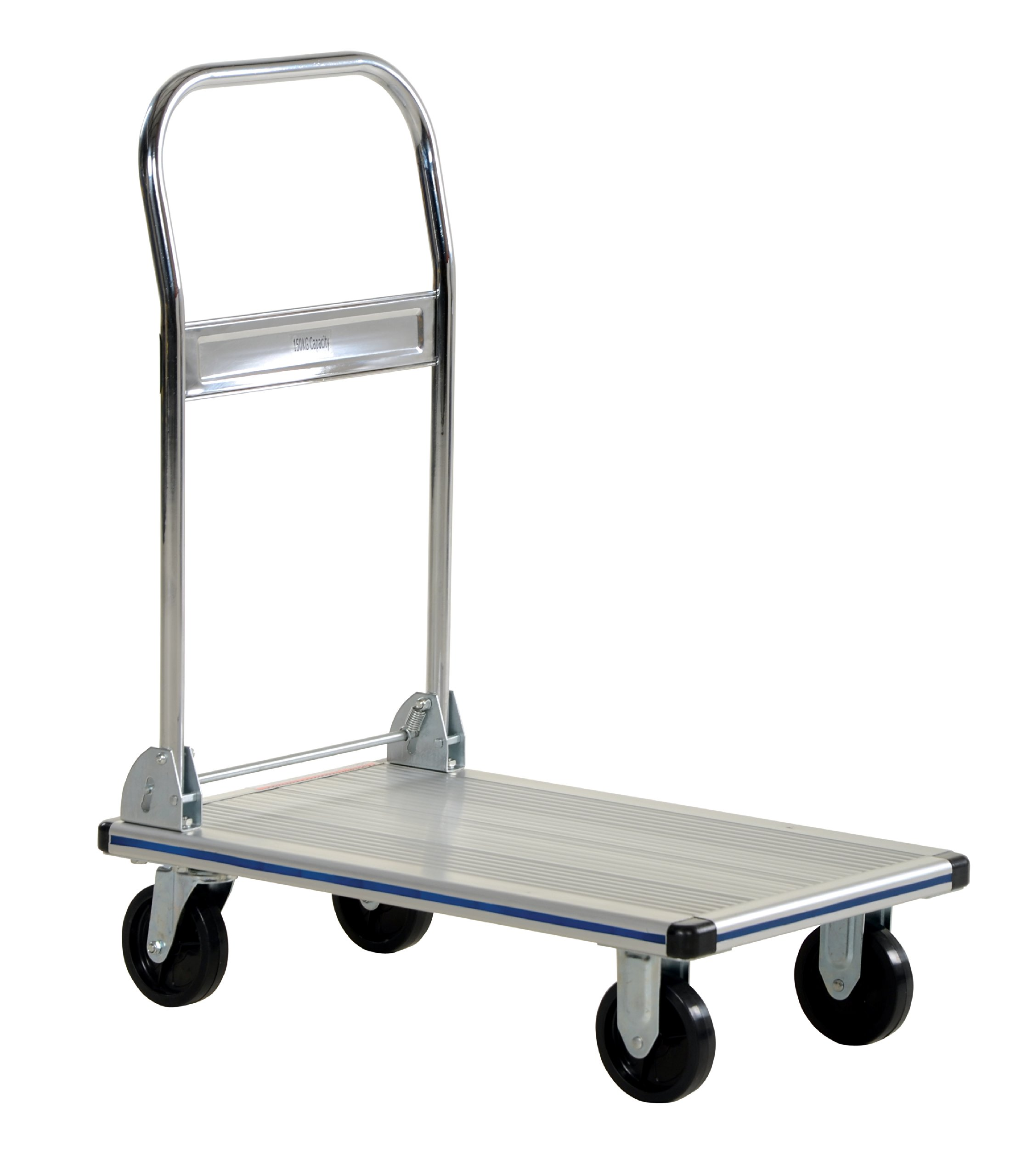 Vestil AFT-30-NM Aluminum Folding Platform Truck with Single Handle and 4'' Non-Marking Polyurethane Casters, 400 lbs Capacity, 30'' Length x 18-1/2'' Width x 6-5/16'' Height