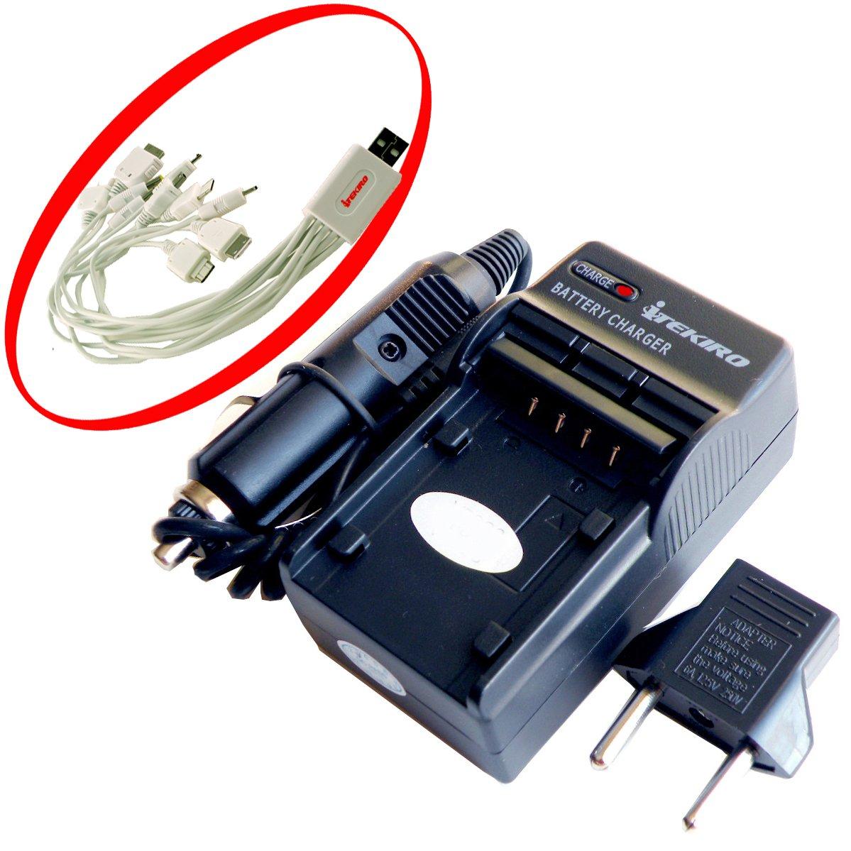 iTEKIRO AC壁DCカーバッテリー充電器キットfor Polaroid ds5370 + iTEKIRO 10-in-1 USB充電ケーブル   B003H3EZN0