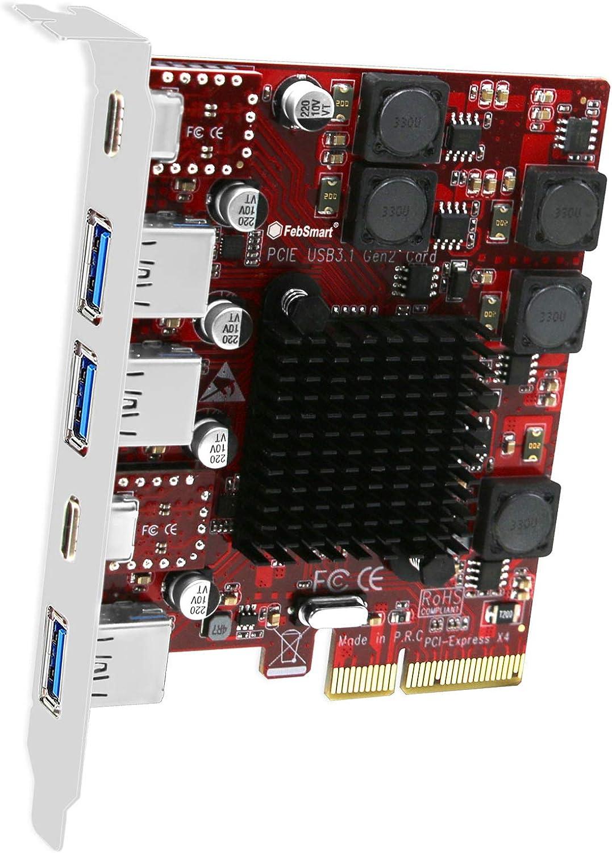 FebSmart 2X USB-C & 3X USB-A 10Gbps Ports PCIE USB 3.2 Gen 2 Card for Windows Server,7.8,8.1,10, MAC OS 10.9.x,10.10.x,10.12.x, 10.13.x, 10.14.x, 10.15.x-Build in Self-Powered Technology (FS-A3C2-Pro)