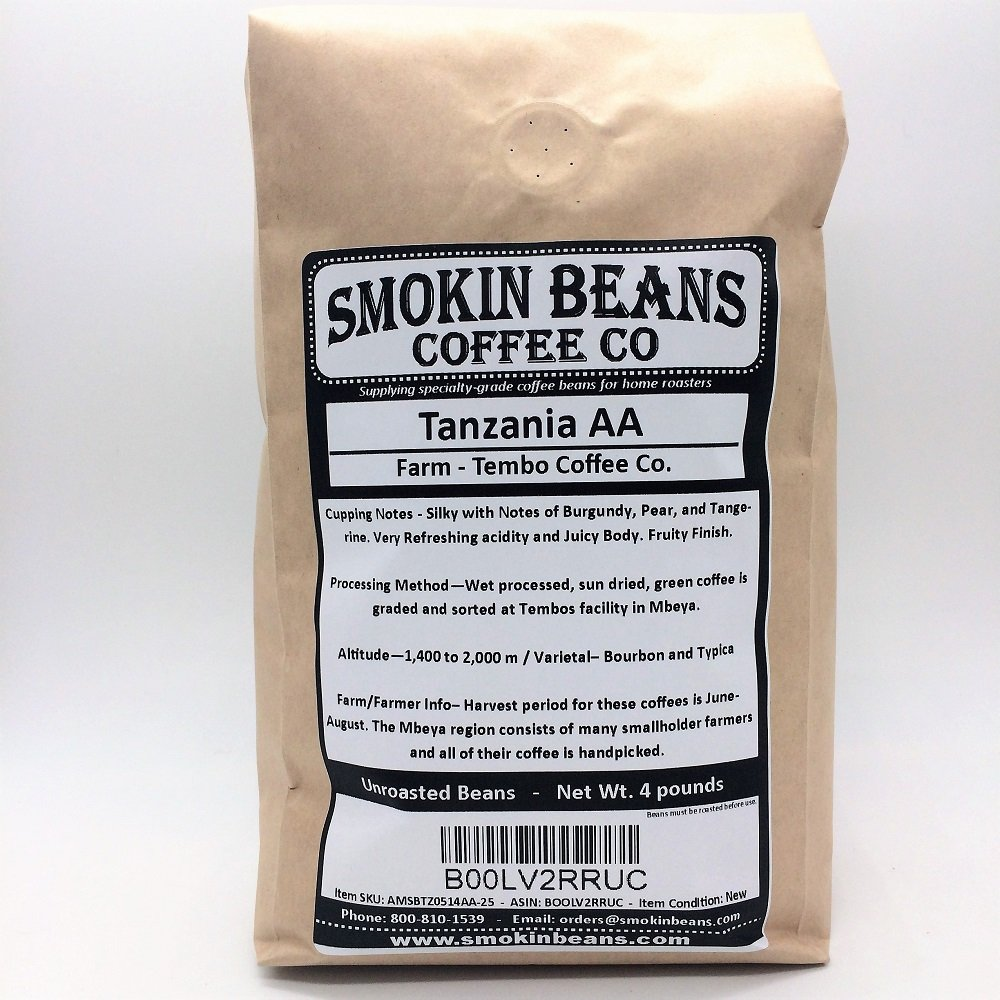 20 LBS TANZANIA AA in SEALED BAG - Farm: Tembo Coffee, Varietal-Bourbon/Typica, Washed, Notes: Burgundy/Pear/Tangerine - Specialty-Grade Green Unroasted Whole Coffee Beans, for Home Coffee Roasters