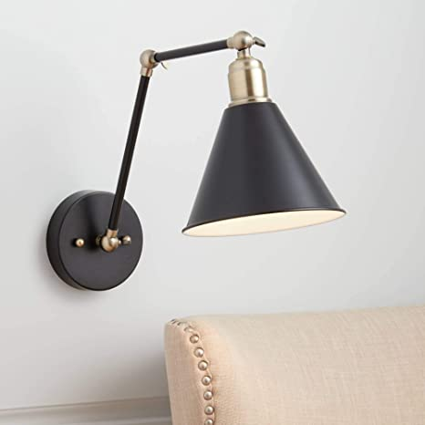 Antique Brass Swing Arm Wall Sconce Industrial LED Wall Mount Light Fixtures
