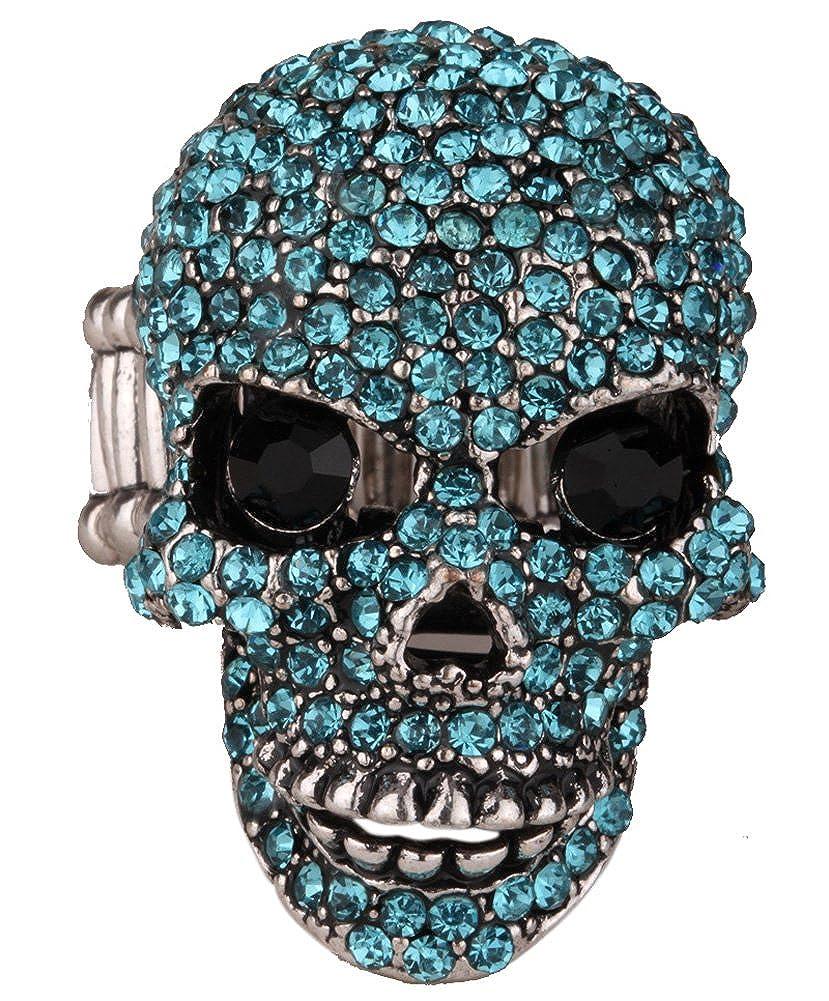 Loveangel Jewellery Bagues t/ête de mort extensibles en cristal pour femme Motard Bijoux