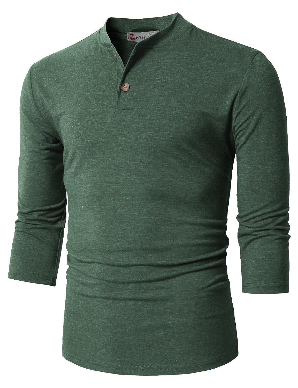 【H2H】ベーシック メンズ カジュアル ファッション オシャレ カラー ヘンリーネック 七分袖 ティーシャツ CMTTS0174 B076J7Y95V S|Cmtts0205-darkgreen Cmtts0205-darkgreen S