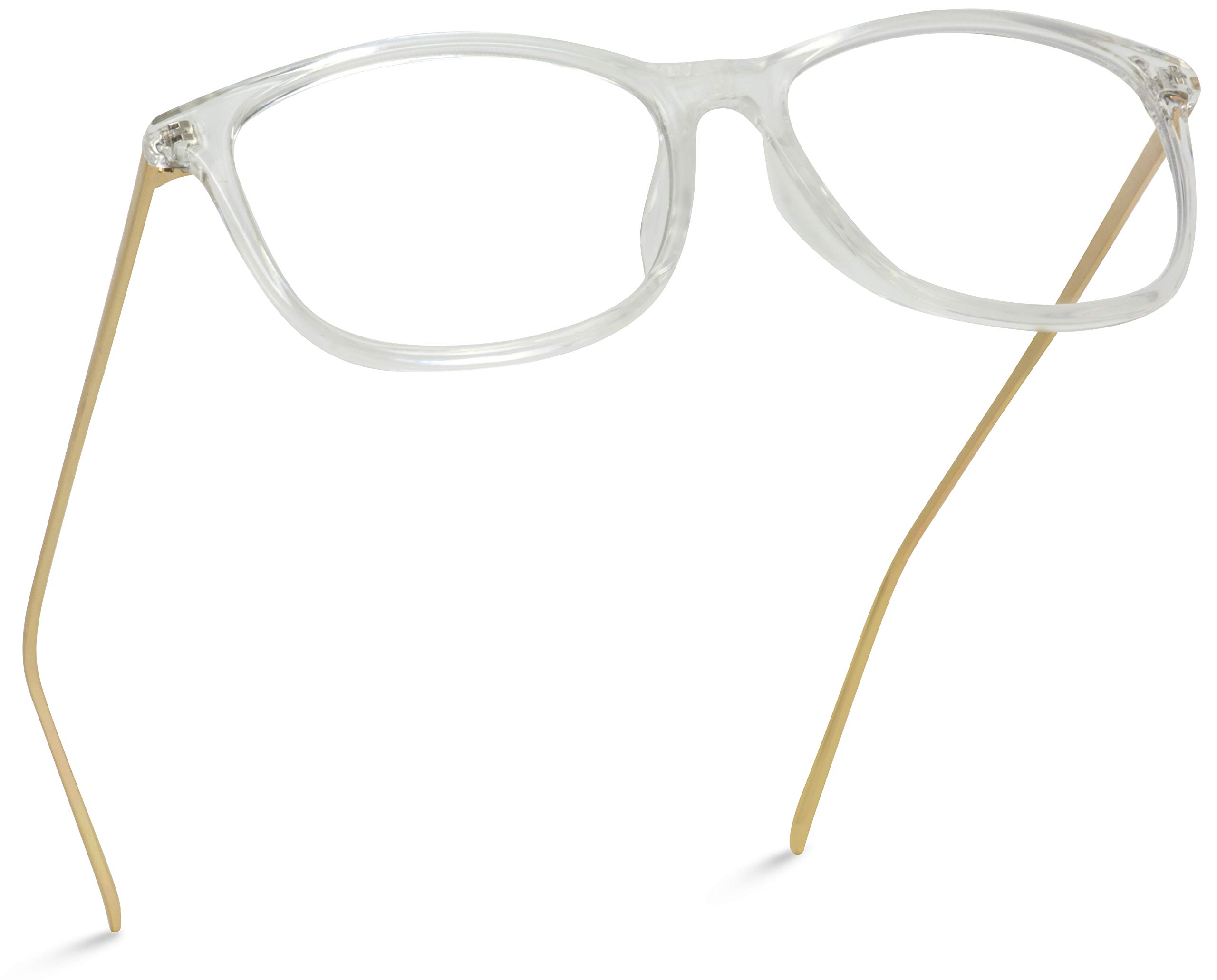 WearMe Pro - Rectangular Elegant Metal Gold Temple Square Clear Glasses by WearMe Pro