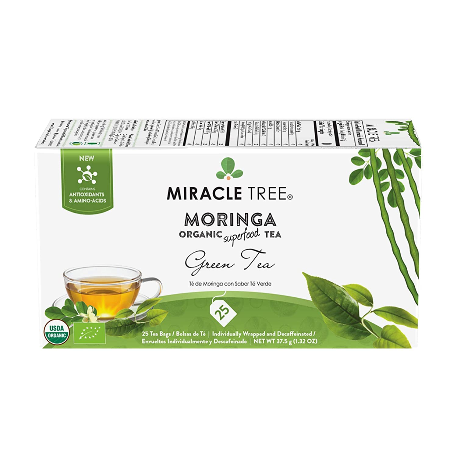 Miracle Tree - Organic Moringa Superfood Tea, 25 Individually Sealed Tea Bags