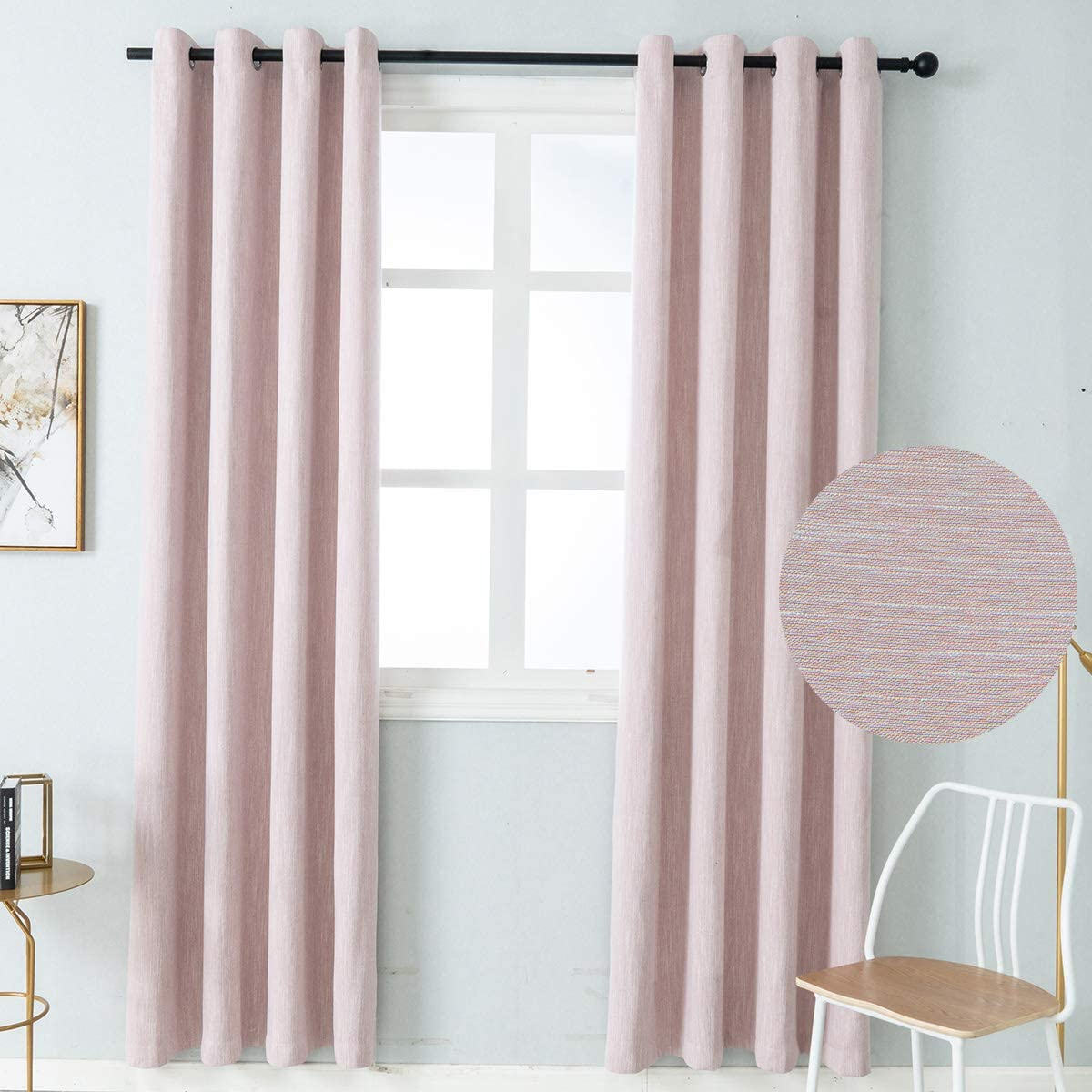 Colokey Elegant Cotton Blackout Curtains Thermal Insulated Single Panel for Bedroom Living Room,Pink,100×84-inch,1 Panel