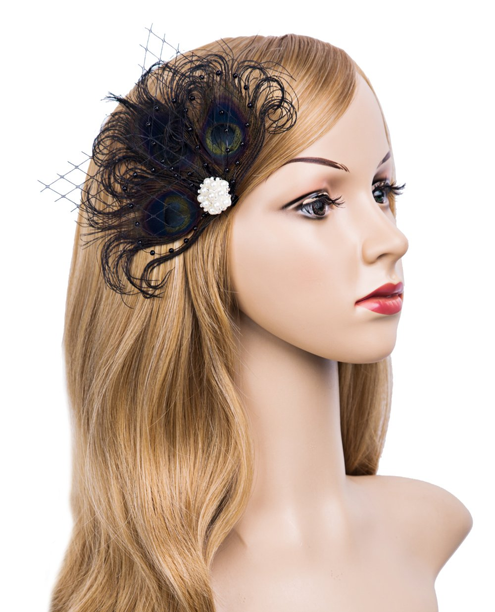 Cizoe 1920s Gatsby Acessories Peacock Costume Hair Clip With Feather Pearl 1920 Flapper Headpiece (Black)