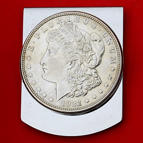 US 1921 Morgan Dollar 90/% Silver BU Uncirculated Coin Stainless Steel Large Money Clip NEW Wide Design