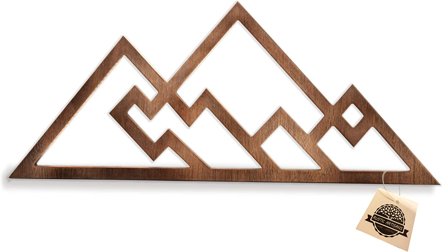 Mountain Wall Decor for Home or Office - Rustic Home Decor in Walnut Stain Color That's Perfect for Your Rustic Home, Farmhouse or Bedroom Wall - 22 X 9 inches