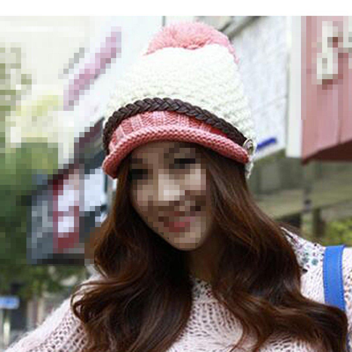 Frauen Mode Winter Dicke Warme Mütze Häkeln Bommel Hohle