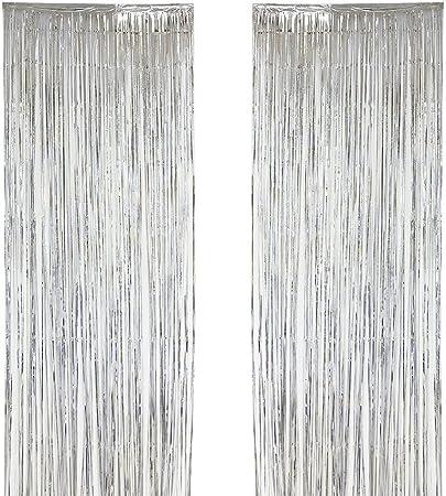 Sunbeter 2 Pack Metálico Tinsel Cortinas Telón Fringe Cortina Shimmer Puerta Ventana Decoración para Banquete de Boda de Cumpleaños (Plata, 39.3x118.1 In): Amazon.es: Hogar