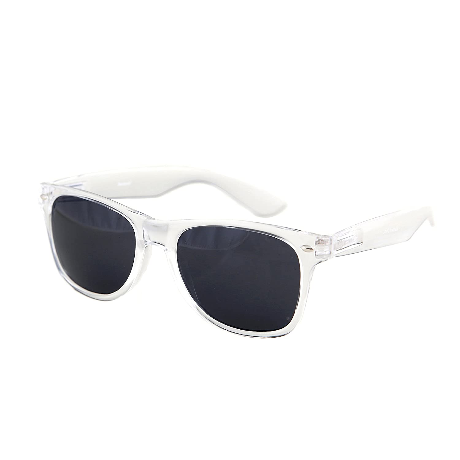 12ee8aa2ff Amazon.com  Shaderz Sunglasses Classic Clear Frame Retro 80 s Black Lense   Clothing