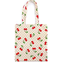 Flowertree Women's Cotton Red Cherry Pattern Canvas Tote Shopping Bag Beige (zip)