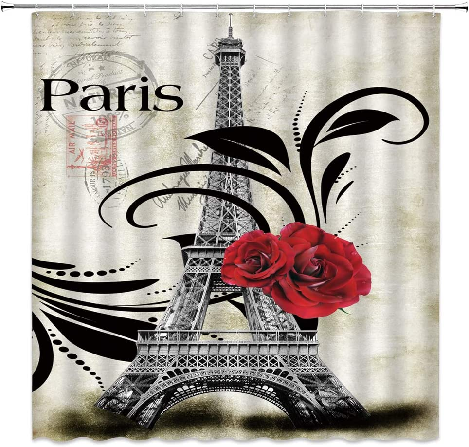 WZFashion Eiffel Tower Shower Curtain Vintage Paris Eiffel Tower Red Rose Stamp Floral Pattern Romantic Abstract France Art City Scenery Fabric Bathroom Curtains Set with Hook