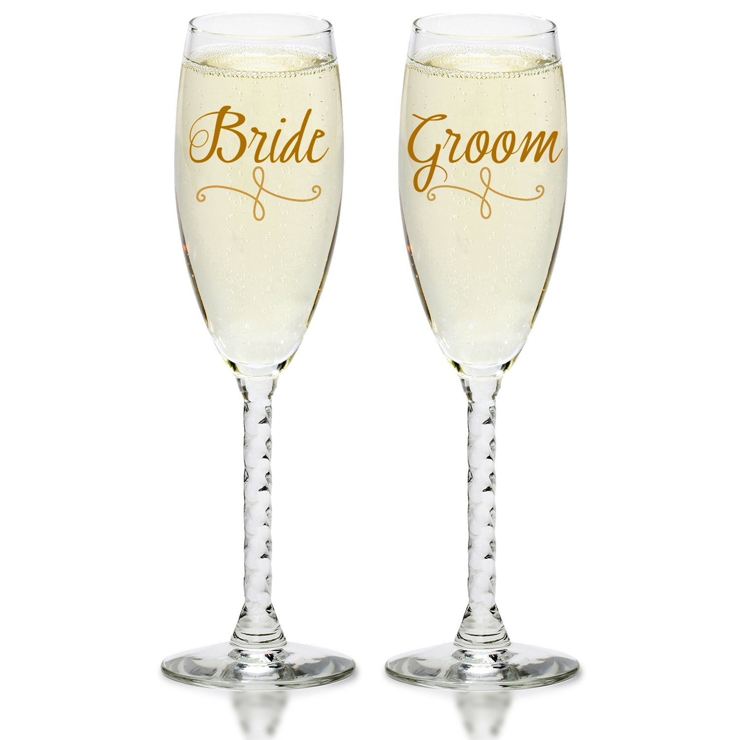 Bride & Groom Gold Champagne Flutes - Elegant Wedding Toast Glass Set For Couples - Engagement, Wedding, Anniversary, House Warming, Hostess Gift