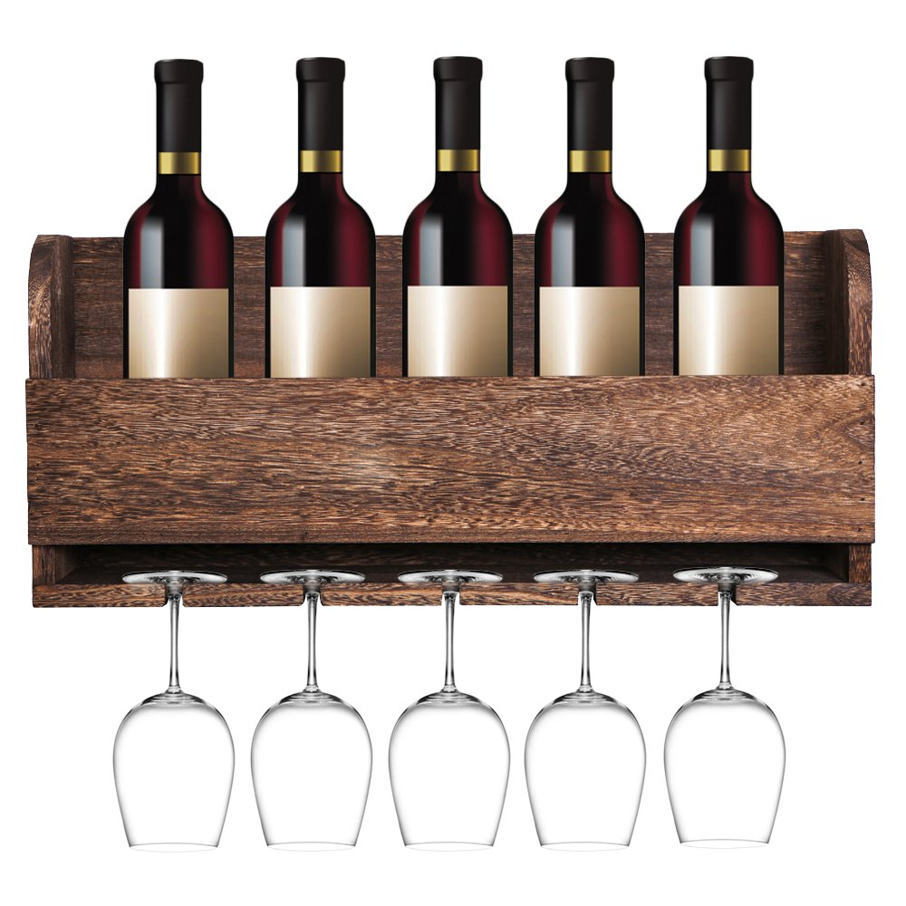 MITIME Floating Wine Shelf and Glass Rack Set Wall Mounted Paulownia Wood Wine Rack 5 Bottle 5 Long Stem Glass Holder by MITIME