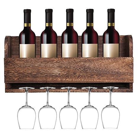 7fad96fb8a Amazon.com: MITIME Floating Wine Shelf and Glass Rack Set Wall Mounted  Paulownia Wood Wine Rack 5 Bottle 5 Long Stem Glass Holder: Kitchen & Dining