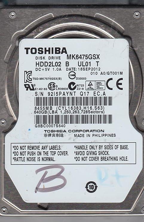 A0//GT001M MK6475GSX Toshiba 640GB SATA 2.5 Hard Drive HDD2L02 B UL01 T