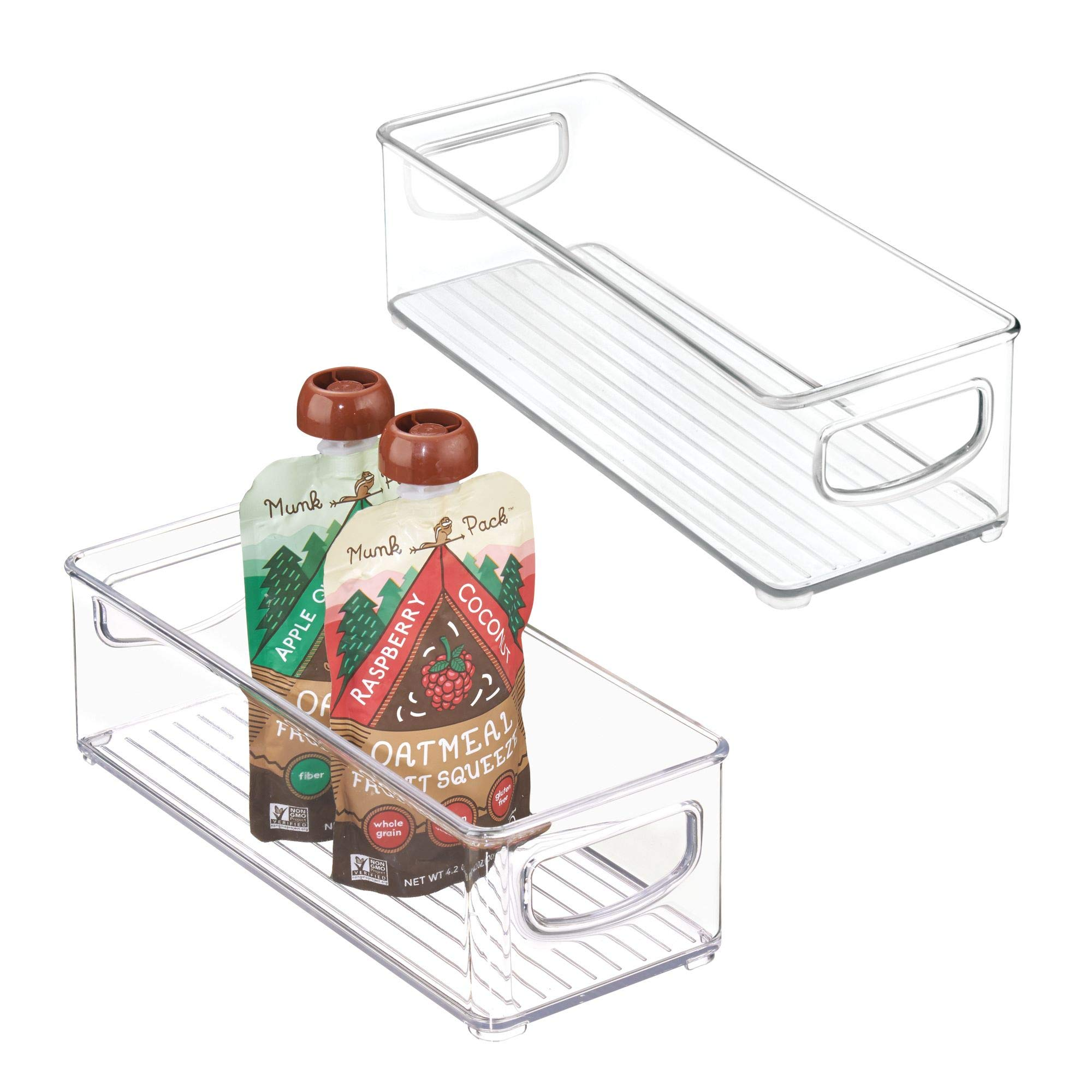 mDesign Stackable Plastic Kitchen Pantry Cabinet, Refrigerator or Freezer Food Storage Bins with Handles - Organizer for Fruit, Yogurt, Squeeze Pouches - Food Safe, BPA Free, 10'' Long, 2 Pack - Clear