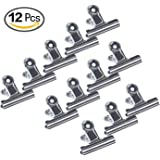 Chip Bag Clips Set of 12 ,Wide 3 Inch Stainless Steel Air Tight Seal Grip Food Clips for Bags Coffee Kitchen Home Usage and Office