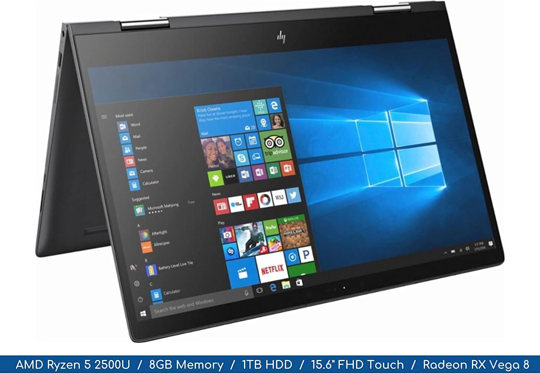 "Envy x360 2018 HP Ryzen Micro-edge 2-in-1 Notebook | 15.6"" FHD MultiTouch Display | 4-Core AMD Ryzen 5 2500U Up to 3.6Ghz | 8GB DDR4 | 1TB HDD | Webcam | Backlit Keyboard | Radeon Vega"
