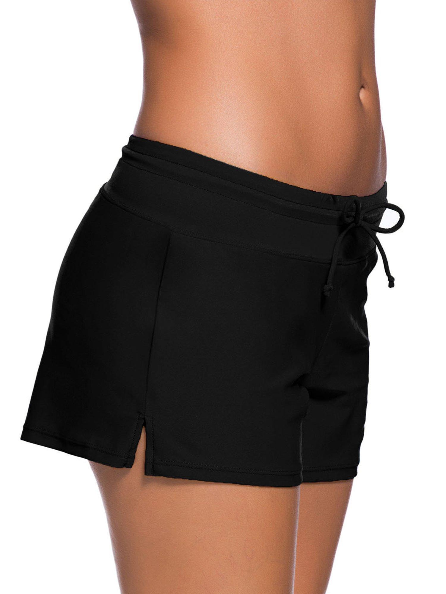 Satinior Women Swimsuit Shorts Tankini Swim Briefs Side Split Plus Size Bottom Boardshort Summer Beach Swimwear Trunks (L Size, Black) by Satinior (Image #3)