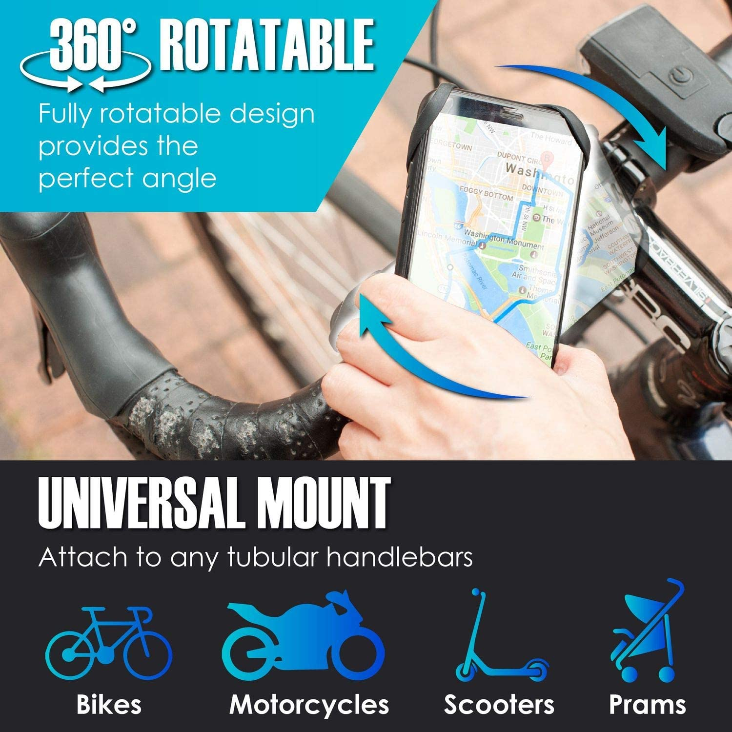 4-6.8 Phone 360/° Rotatable and Adjustable Universal Bike Phone Mount Compatible with Motorcycle Bicycle Handlebars Samsung Galaxy S10//S9//S8 Plus Fits iPhone 11 Pro Max//X//XR//XS//8//7//6s Plus
