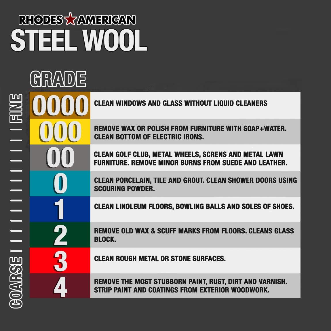 Rhodes American 24 Pads 12 pad Super Fine Grade #0000 Final Finish Steel Wool
