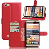 Doogee X7 Pro Case iBetter Doogee X7 Pro Wallet Case Premium PU Leather Wallet Smartphone Case with Stand Function for Doogee X7 Pro (Red)