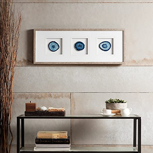 Madison Park Blue Trio Wall Art-Glass Framed Panel Natural Agate 4 Inch Geode Stones Living Room D cor,Different Cuts each cut is a one of a kind piece and distinct from each other