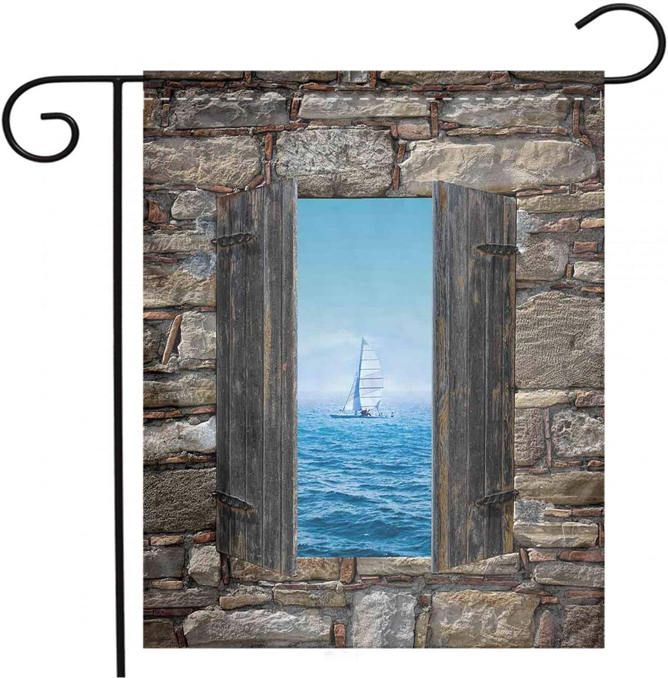 House Garden Flag,double Sided,outdoor Yard Flags, House Decor Image Of A Sailing Boat From Stone Window Narrow Perspective Idyllic Mediterranean,Home Party Holiday Garden Flags decor ,20x36 inch