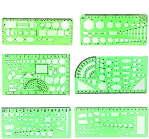 PAWACA Plastic Clear Green Color Measuring Templates Building Formwork Stencils Drafting Tools Geometric Drawings Rulers for School Office Supplies (A)