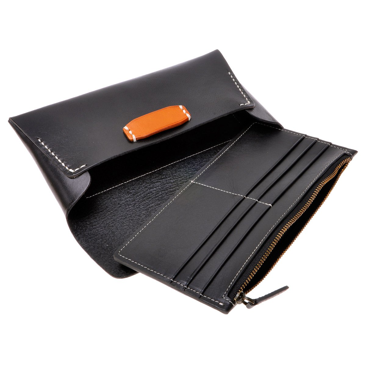 Leather Clutch Wallet ZLYC Envelope Design Passport Holder Unisx Long Purse with Removable Card Case