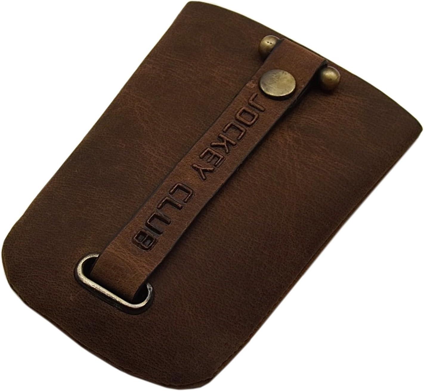 Cuero Estuches de Llave 1 Compartimento con un Llavero retráctil en marrón o coñac (Coñac)